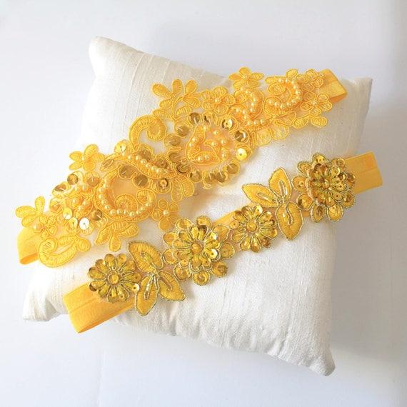 Yellow Wedding Garter Set Yellow Prom Garter Bridal Yellow Garter,Yellow Lace Garter
