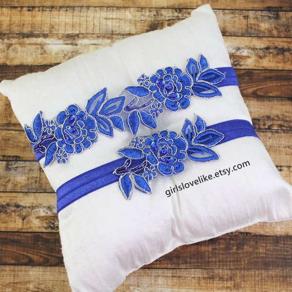 Royal Blue Flower Lace Garter Set Blue Lace Wedding Garter
