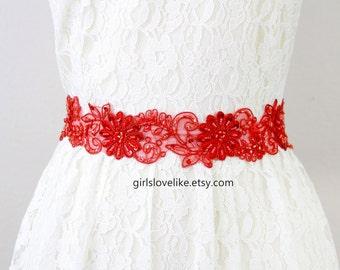 Red Beaded Lace Sash, Bridal Rede Sash, Bridesmaid  Sash, Flower Girl Sash, Red Lace Sash Belt