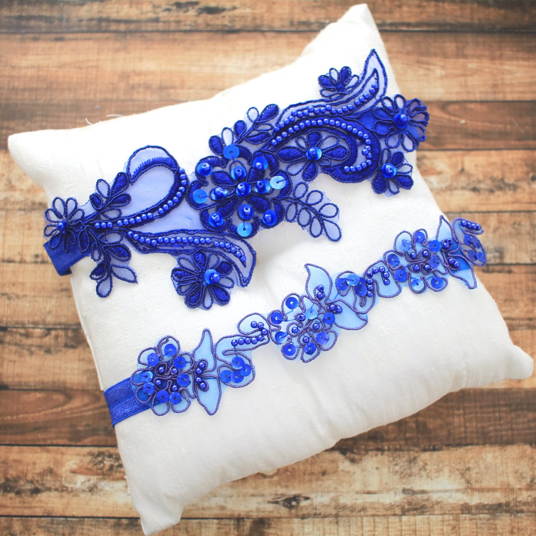 Royal Blue Beaded Lace Garter Set Bridal Blue Garter