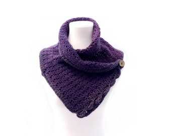 Organic Buttoned Cowl - Cotton Wrap - Shades of Purple-
