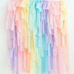 Unicorn Rainbow DIY Streamer Fringe Backdrop Kit - Pastel Rainbow Party Decorations - Pastel Rainbow Fringe - Rainbow Streamer Backdrop