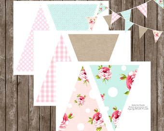 Shabby Chic Printable Pennant BANNER by Marbella Printables