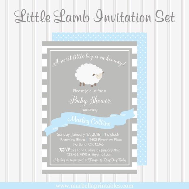 Little lamb baby shower invitationlittle lamb baby etsy image 0 filmwisefo