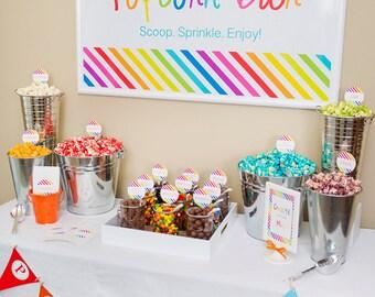 POPCORN BAR Rainbow/Art/Birthday/Shower/Wedding Printable Package by Marbella Printables