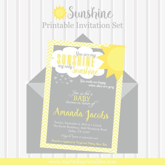 You Are My Sunshine Baby Shower Invitation Sunshine Etsy