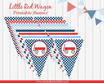 Little Red Wagon Printable Pennant BANNER by Marbella Printables