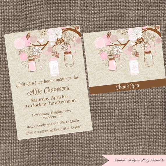 Mason Jar Invitation Girl Baby Shower Invitation Mason Jar Etsy
