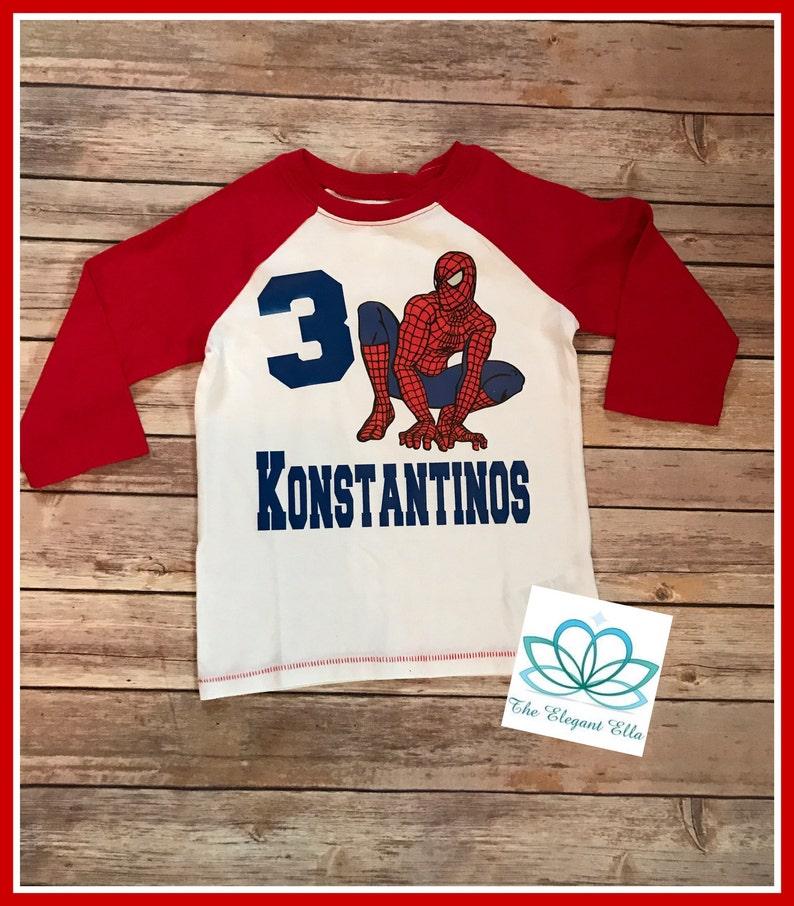 Spiderman Man Birthday Shirt Personalized Superhero