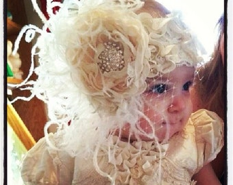 Baby girl headband, Ivory headband, handmade cabbage rose flower headband,  big cluster headband