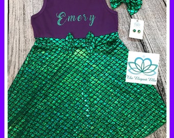 Personalized Mermaid dress, princess Ariel disney dress, mermaid birthday dress, mermaid name dress