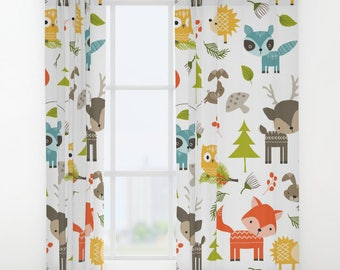 Animals Curtains Woodland Window Drapes Kids Curtain Forrest Panels Childrens Woods
