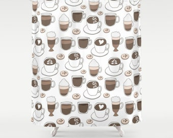 Coffee Shower Curtain Bathroom Decor Lover Whimsical Cafe Bath Cups Espresso