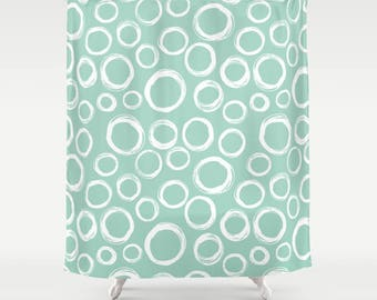 Bubbles Shower Curtain Circles Mint Green Water Abstract Seafoam Briny Round