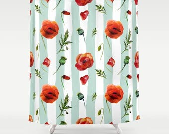 Poppy Shower Curtain Poppies Bathroom Flowers Floral Green Stripes Garden Tub Liner