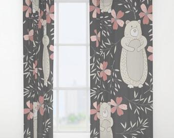 Bear Curtains Animal Girls Pink Flowers Nursery Baby Drapes Kids Curtain Childrens
