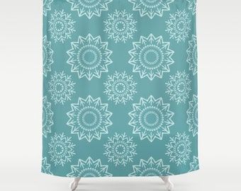 Blue Shower Curtain Green Bathroom Boho Contemporary Teal White Medallions