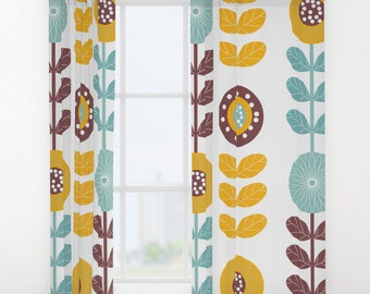 Yellow curtains floral curtains yellow drapes yellow window etsy retro window curtains flower window curtains retro drapes retro curtain flower curtain yellow curtains brown curtains blue sabrina mightylinksfo