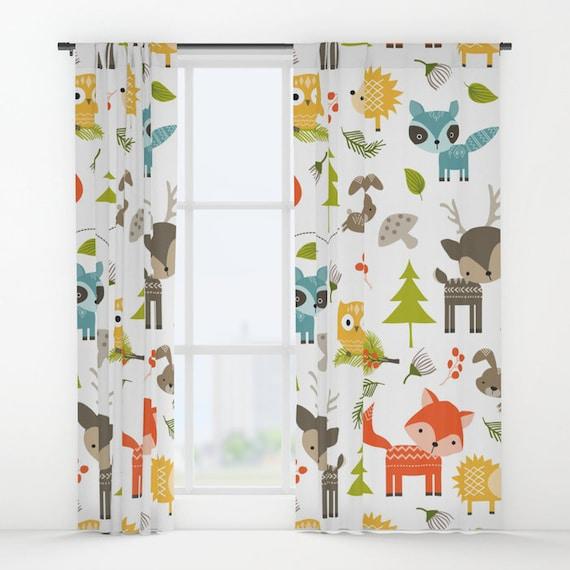 Tiere Vorhange Wald Tiere Fenstervorhange Tiere Drapiert Etsy