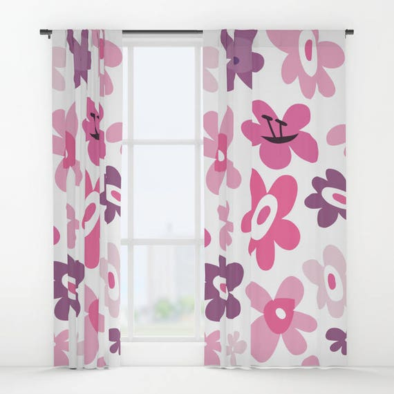 Pink Flowers Curtains Pink Window Curtains Flower Window Etsy