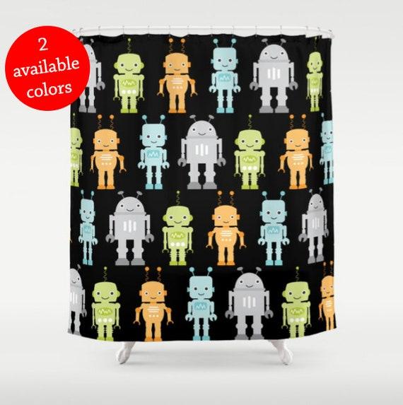 Robot Shower Curtain Bathroom Boys