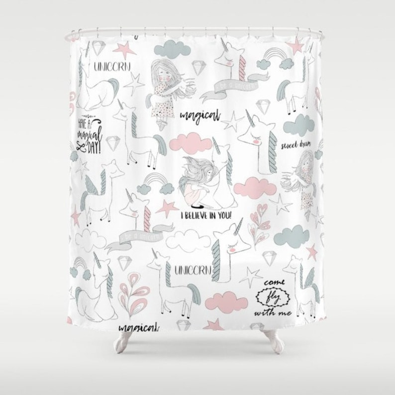 Unicorn Shower Curtain Bathroom Lover Kids