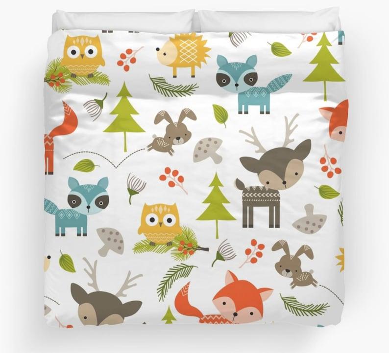 Animal Comforter Forest Animals Duvet Animals Duvet Kids   Etsy
