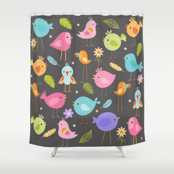 Birds Shower Curtain Bird Bathroom Childrens