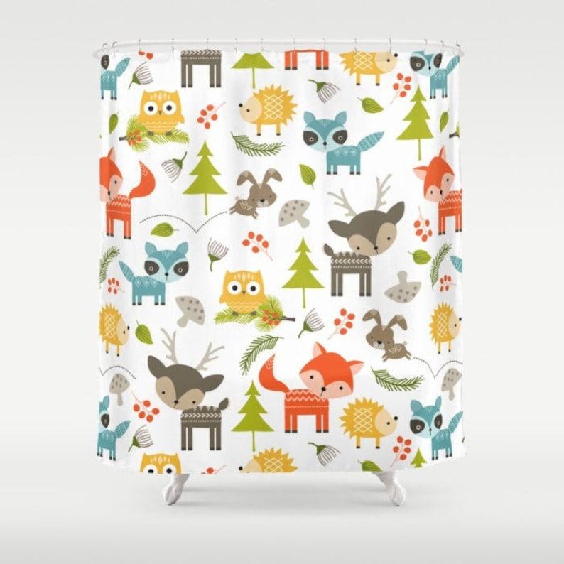 Woodland Animals Shower Curtain Forest
