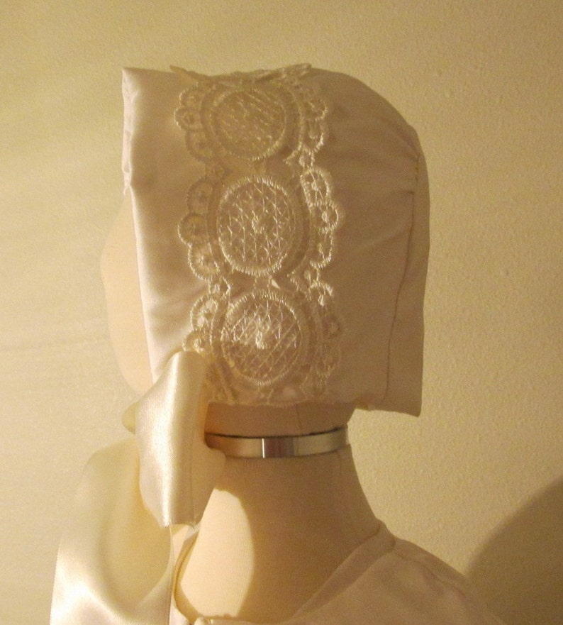 Boy or girls silk ChristeningBaptismBlessing bonnet