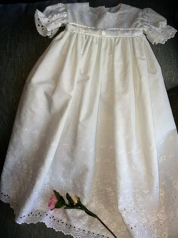 Baby girl christeningblessingbaptism gown in white eyelet