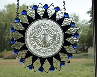 Blue antique plate stain glass