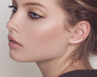 Minimalist ear cuff - Silver ear crawlers - Curved bar cuff - Minimal ear climbers - Sterling silver