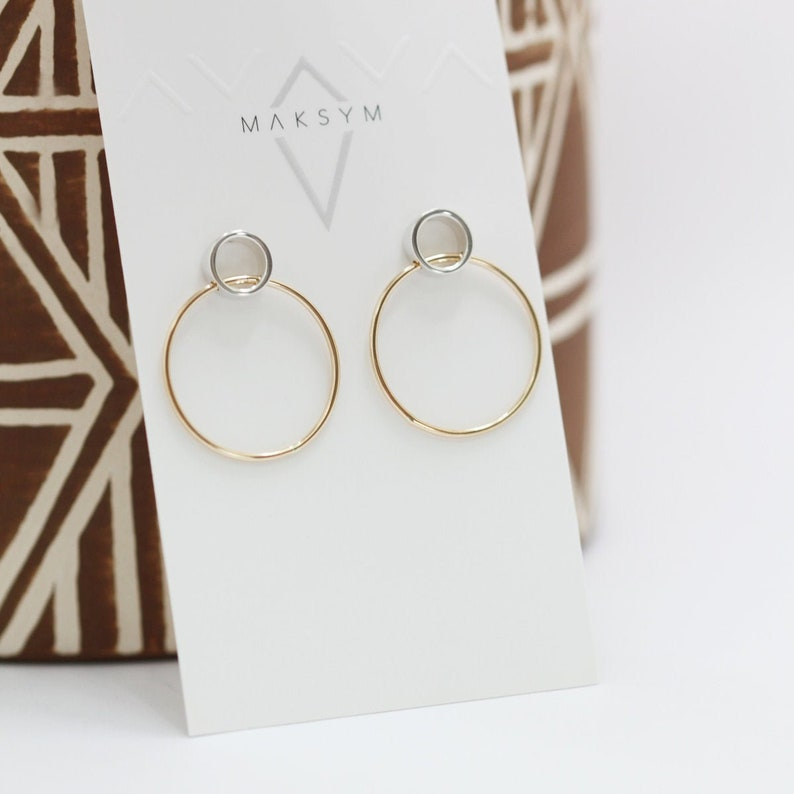 Two tone hoops earrings  Silver and gold circles studs  image 0