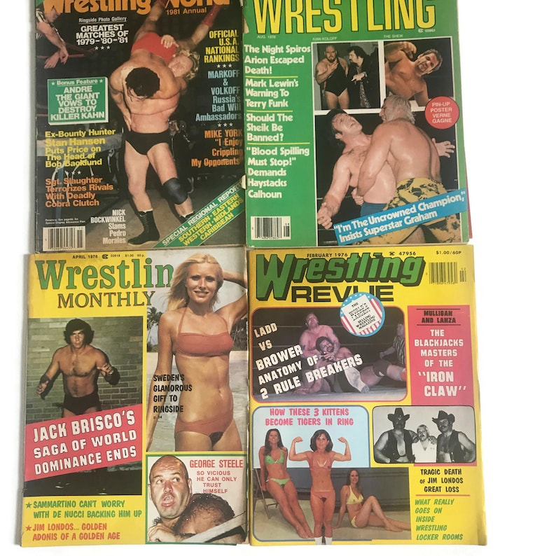 Vintage 1970s 1980s Wrestling Monthly Magazines Four Issues image 0