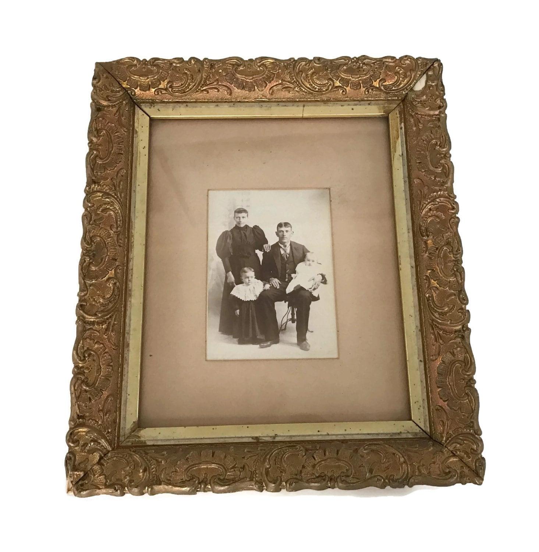 Gesso de madera antiguo cuadro dorado oro marco retrato de familia ...
