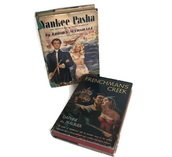 40s 50s Pulp Fiction Book Set, Old Romance Novels, Steamy Book Cover Art,  Vintage Book Decor, Du Maurier, Set 0f Two Books, Dust Jacket Art