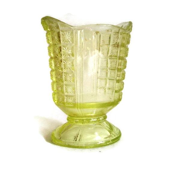 Vintage Depression Glass Vase Vaseline Glass Small Pedestal Etsy