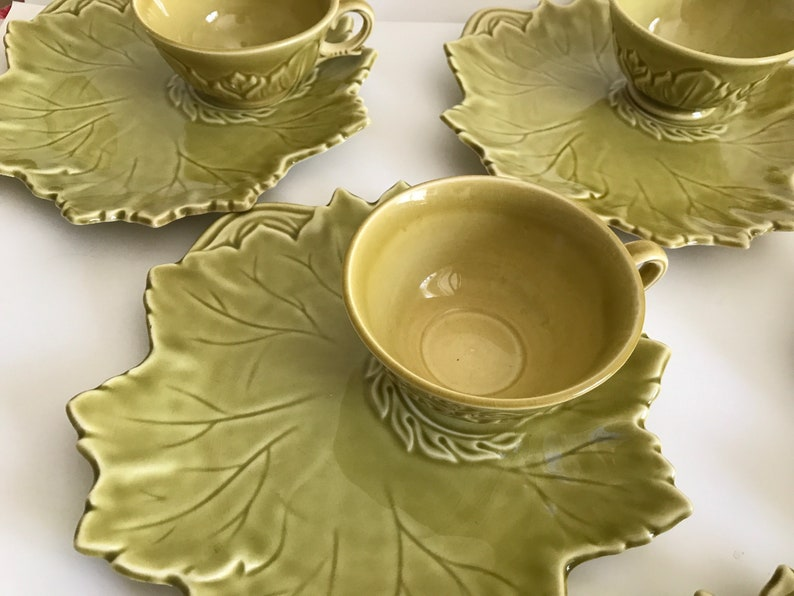 Vintage 16 Pc Woodfield Golden Fawn Chartreuse Tea Cups Set of 8 Tea and Toast Snack Set, 1940s Woodfield Steubenville Snack Plate Set