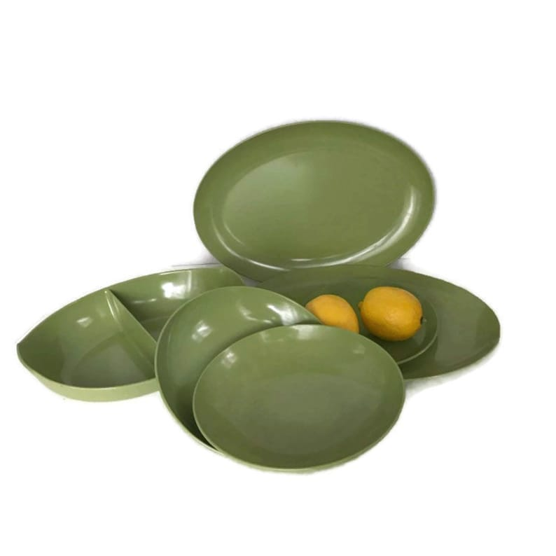 Camping Dishes Avocado Green Plastic Dishes Camping Mid Century Glamping Vintage Melamine Dishes Picnic Olive Melmac Dinnerware Set
