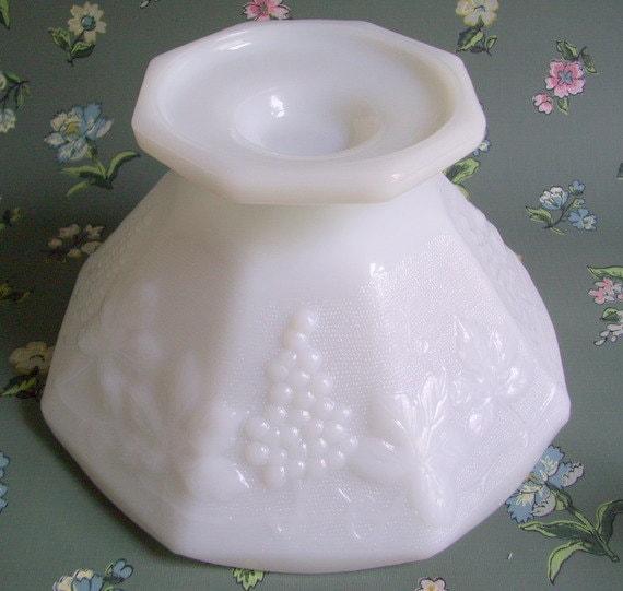 Vintage Glass Fruit Bowl Anchor Hocking Harvest Grape Pattern Pedestal Bowl Octagonal Compote