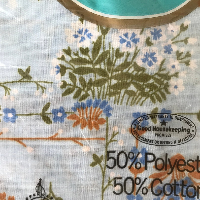 NOS Thomaston Pillowcase Set Cotton Polyester Vintage New Old Stock Blue Floral Print Fabric Deadstock New Home Bedding Twin Bed Linens