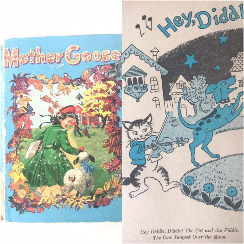 Vintage 1950s Mother Goose Book, Nursery Rhymes, Illustrated, 1953 Birth  Year