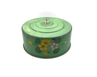 Vintage Tole Metal Cake Keeper, Green with Hand Painted Flowers, Vintage Kitchen Toleware, Tin Cake Cover, Farmhouse, Cottagecore, Shabby