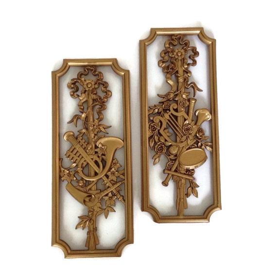 Hollywood Regency Homco Wall Decor Plaques Musical Theme Pair   Etsy