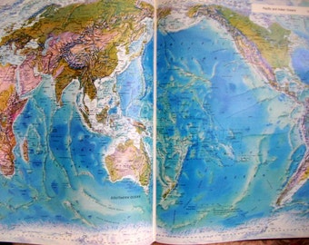 Vintage World Atlas - Rand McNally - 1992 - Today's World - Hardcover - World Maps - Color Maps - Reference Book - Scrapbooking