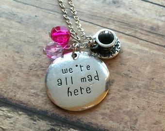Disney Alice In Wonderland All Mad Here Stamped Charm Necklace Cheshire Cat Looking Glass Jewelry Disneyland Disney World Cruise Vacation