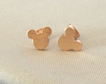 Tiny Rose Gold Plated Mickey Head Stud Earrings Studs Minnie Mouse Disney Jewelry Dainty Delicate Cute Disneyland World Vacation Cruise