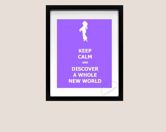Keep Calm and Carry On Poster Aladdin Jasmine Genie A Whole New World Disney Art Print Printable Quote Song Lyric 8x10 Instant Download