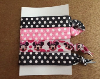 No Crease Elastic Minnie Mouse Hair Ties FE Gift Fish Extender Gift Disney Cruise Party Favor Disneyland Disney World Disney Cruise Hair Tie